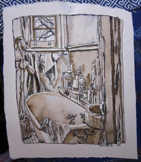 1988 La belle beignoire chez Manon 12 x 10 Ink
