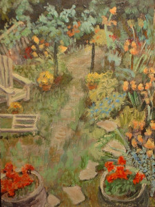 2009 Riverdale garden 12 x 9 Egg Tempera