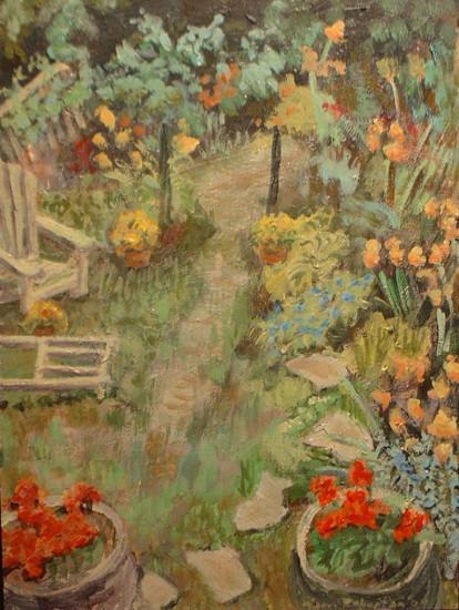 2009 Riverdale garden 12 x 9 Egg Tempera
